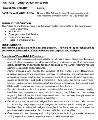 Construction safety manager job description pdf