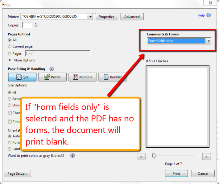 Cannot print pdf file is disabled
