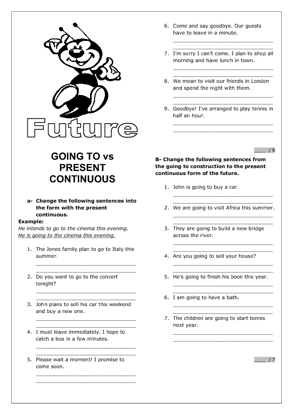 Future tense will going to present continuous exercises pdf