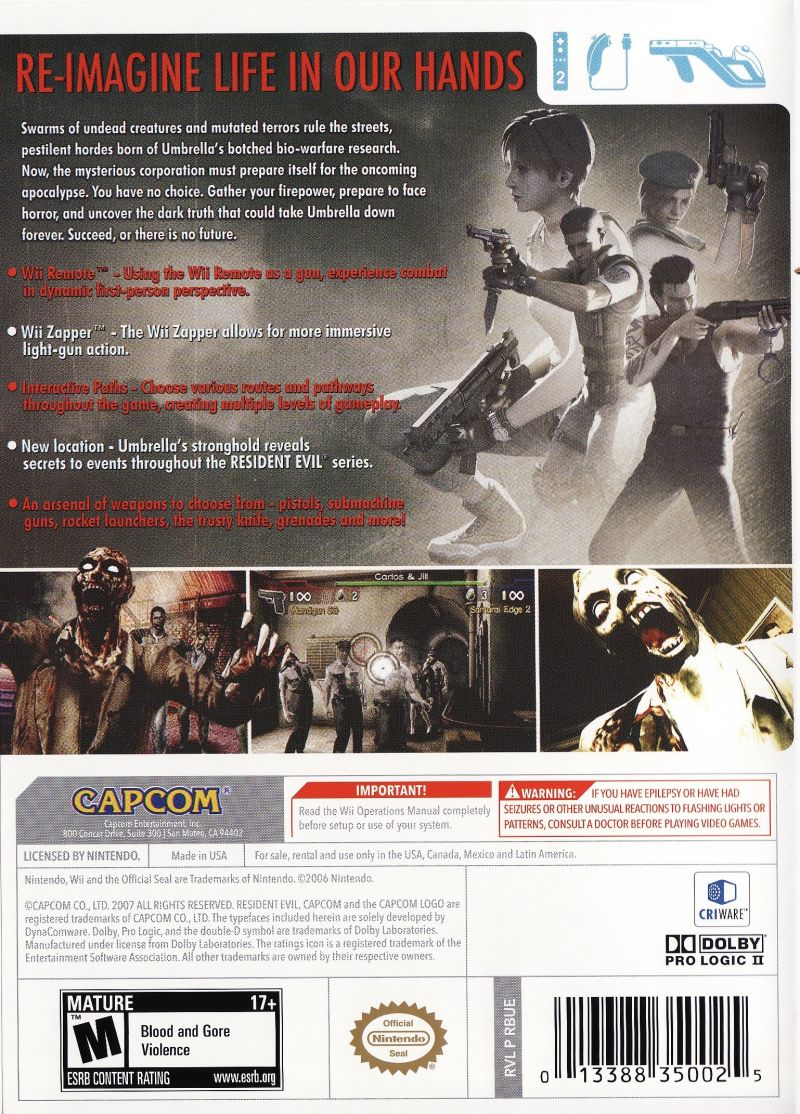 resident evil archives wii instruction manual