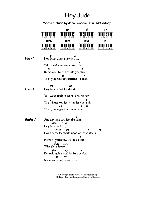 Hey jude piano chords pdf