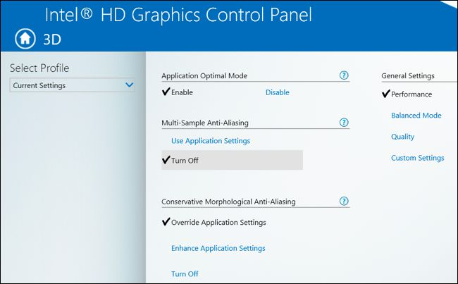 Intel graphics control panel doesnt show override application settings